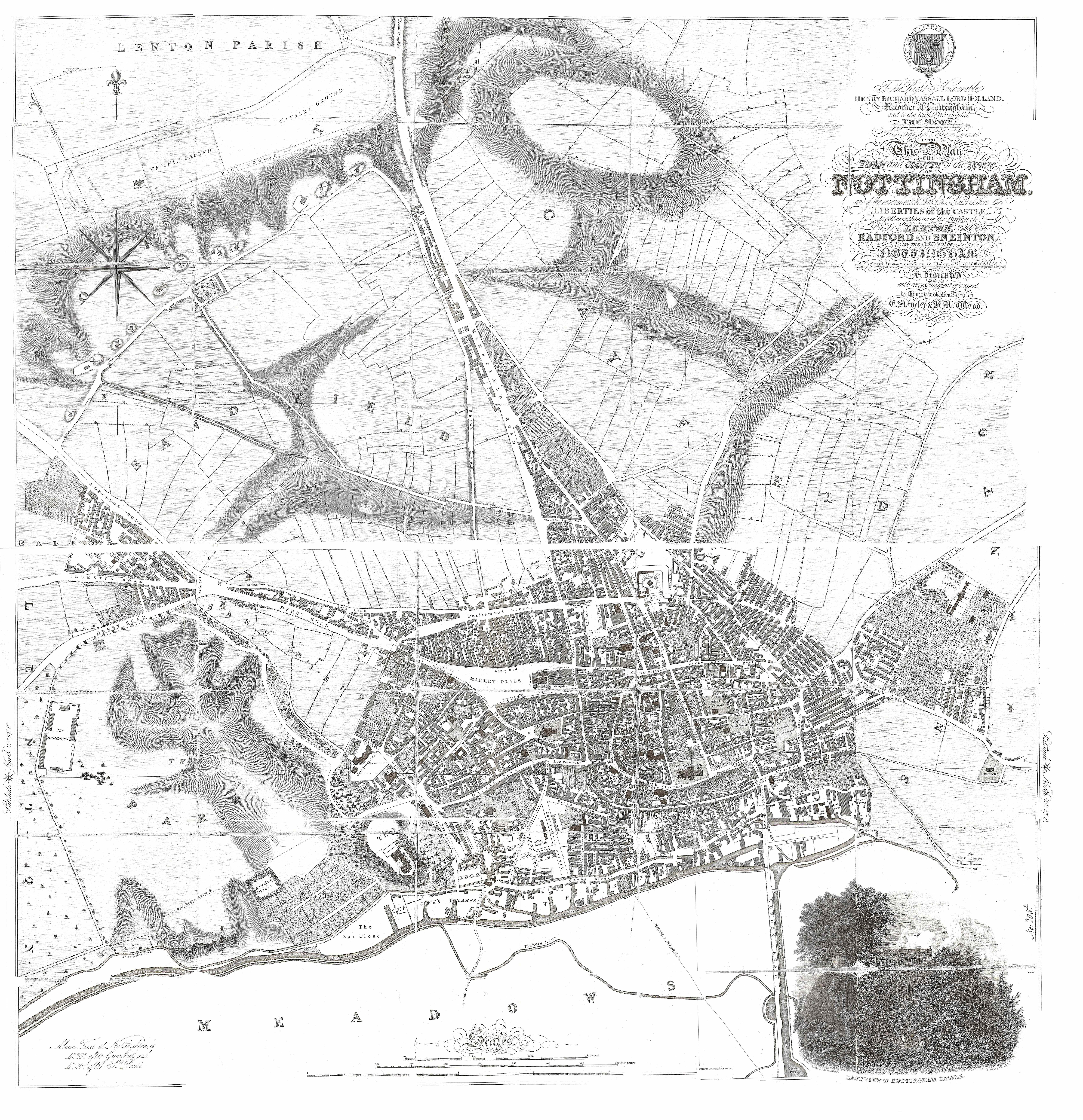 Brilliant documents No4 Staveley and Wood Map of Nottingham 1829